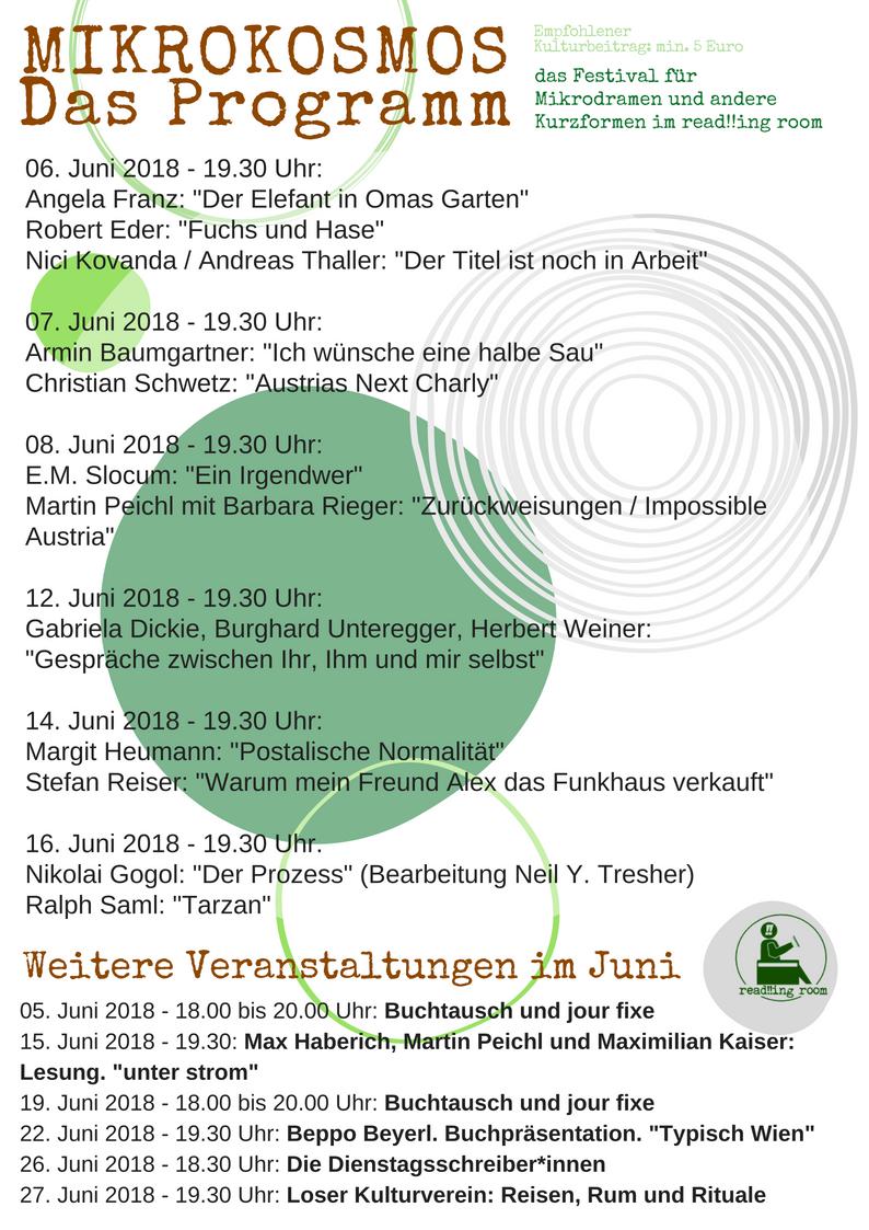 Juniprogramm read!!ing room 2018 inkl. Mikrokosmos