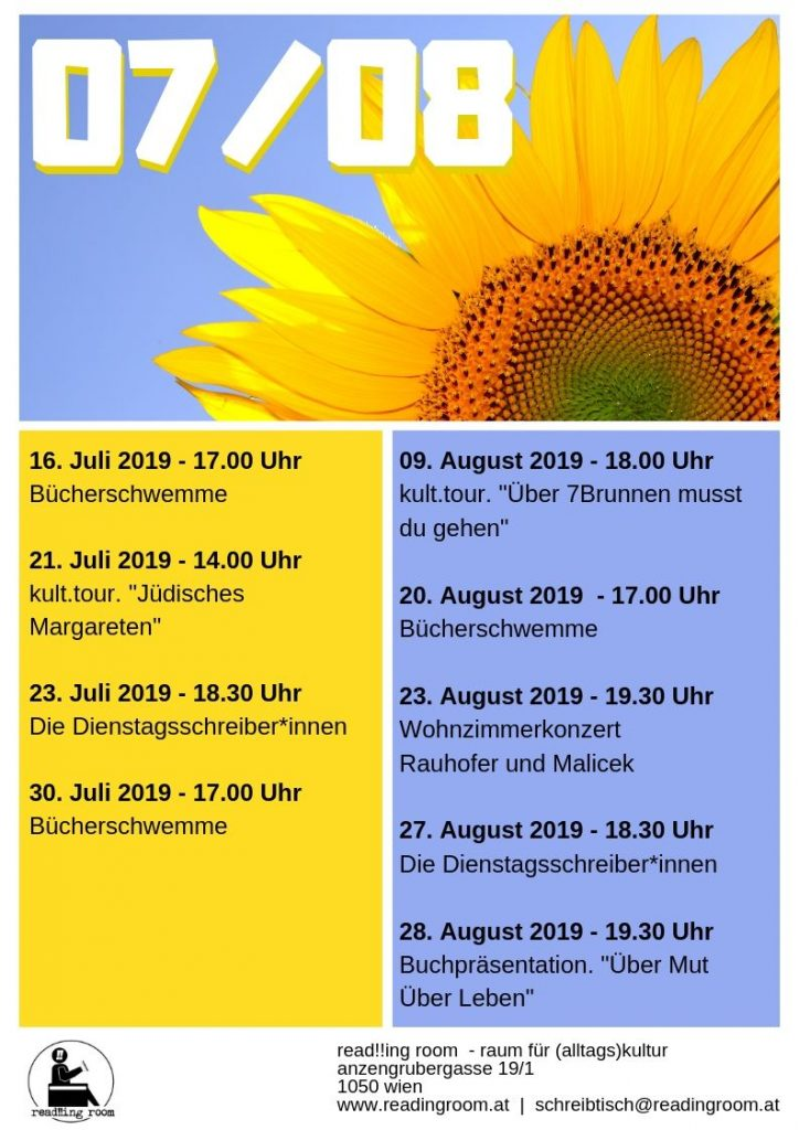 read!!ing room Programm Juli / August 2019