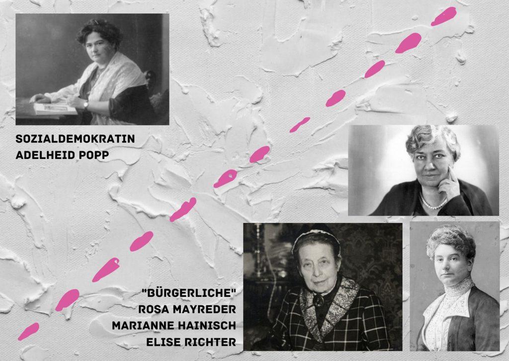 Adelheid Popp, Elise Richter, Rosa Mayreder, Marianne Hainisch, politische Verortung