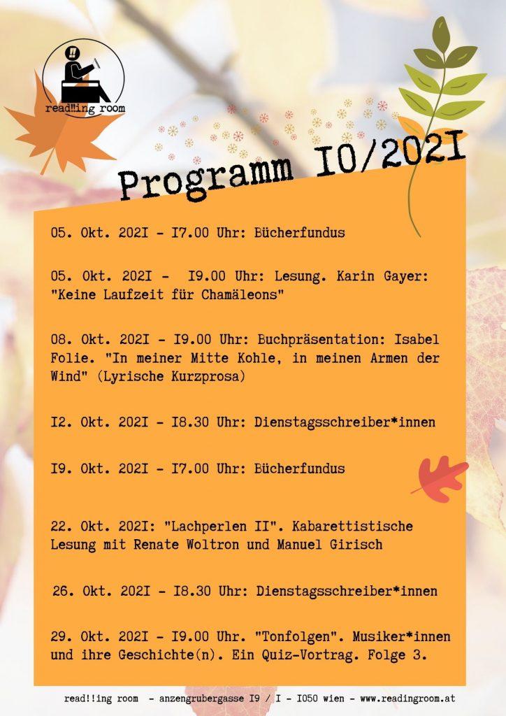 Programm 10/2021 read!!ing room
